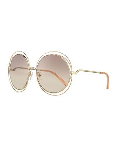 ChloÉ Carlina Round Wire Metal Sunglasses, Golden/peach, Gold/gray In Gold/peach