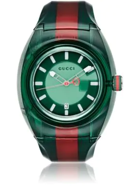 7a896d565c9 Gucci Watch Sync Watch Web Case In Transparent Pvc In Green