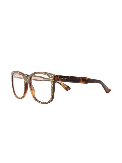 efd3788a52e0 Gucci Eyewear Square Frame Rhinestone Glasses - Brown