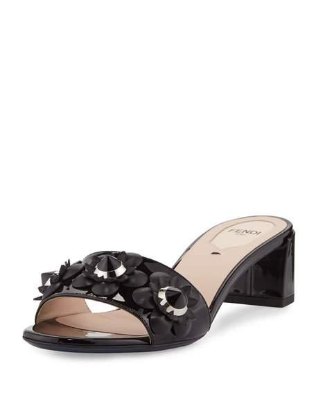 4c31174511fd Fendi Flowerland Studded Patent Leather Block Heel Slides In Black ...