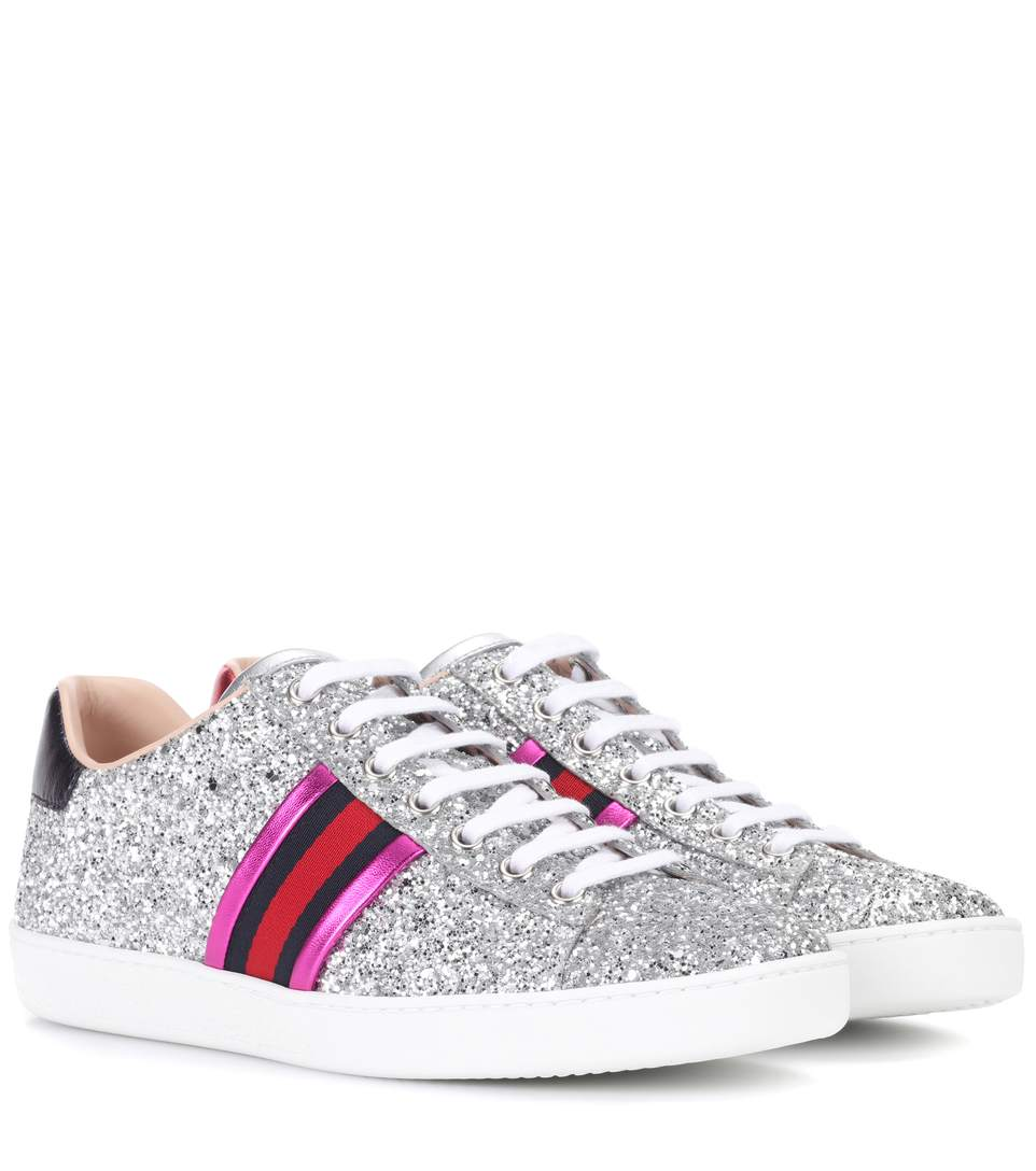 707d665d62d Gucci New Ace Striped Glitter Trainers In 8167 Silver