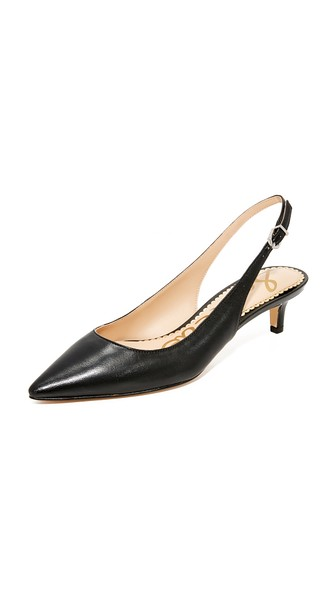 46815c2d2f3c0b Sam Edelman Ludlow Leather Kitten-Heel Slingback Pumps In Black. SAM EDELMAN