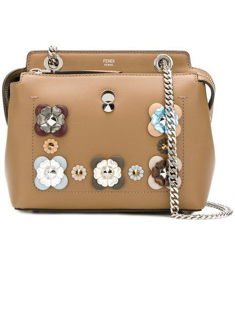 bbb29a6615cc Fendi Dotcom Mini Flowerland-Embellished Leather Bag In Brown