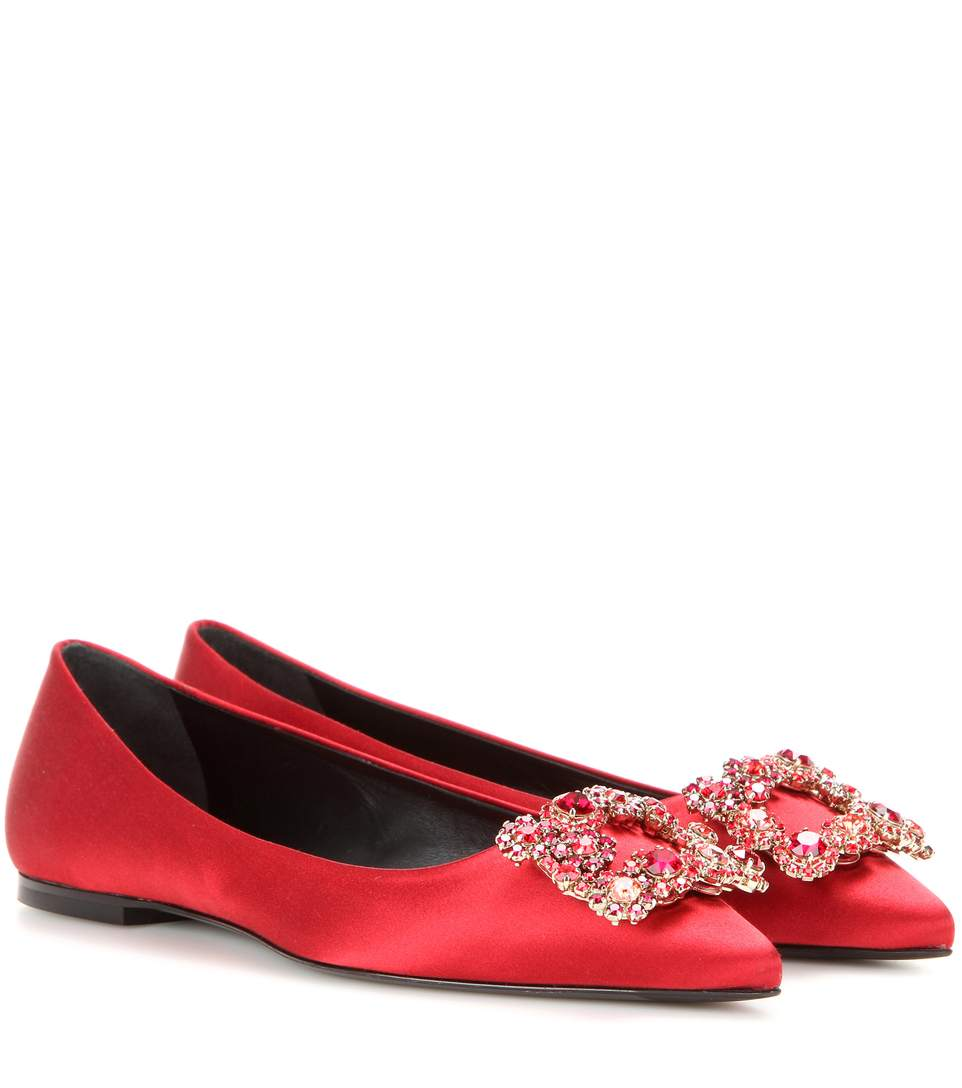 Roger Vivier 10Mm Satin & Swarovski Buckle Flats, Red