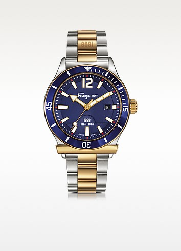 Salvatore Ferragamo Ferragamo 1898 Sport Gold Ip And Stainless Steel Men's Bracelet Watch W/blue Aluminum Rotating Bezel In Silver/ Blue