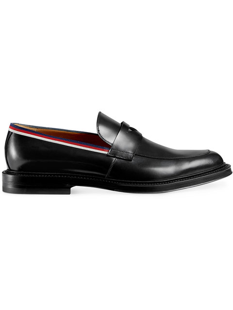6a3fcf3bac4 Gucci Leather Loafers With Grosgrain Web Detail In Black Multi ...