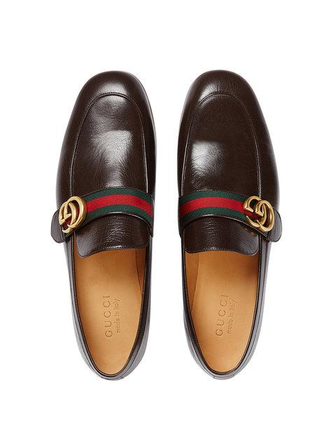 4caa418da Gucci Men's Leather Loafers Moccasins Quentin In Brown | ModeSens