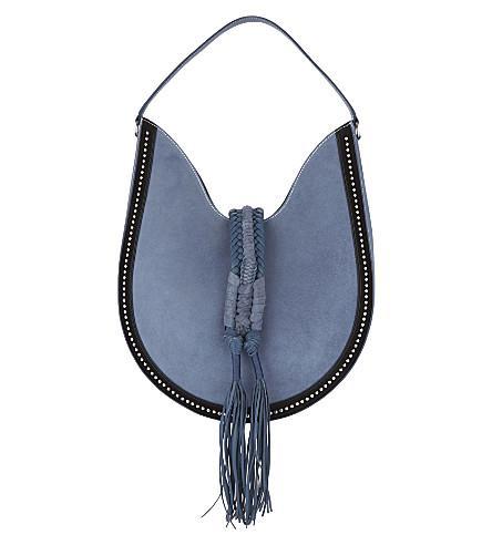 Altuzarra Ghianda Large Studded Suede Hobo Bag, Denim In Denim Blue