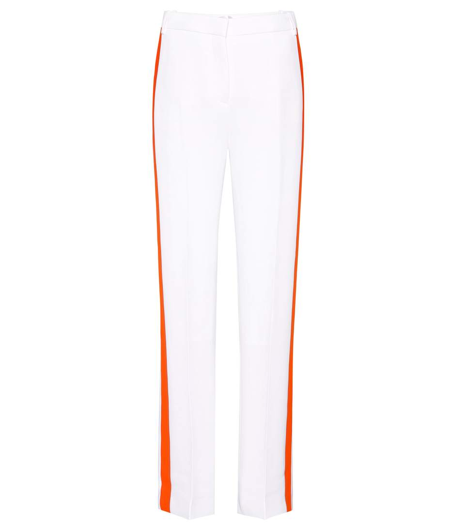 Victoria Victoria Beckham Contrast Outseam Relaxed Tuxedo Pants In White
