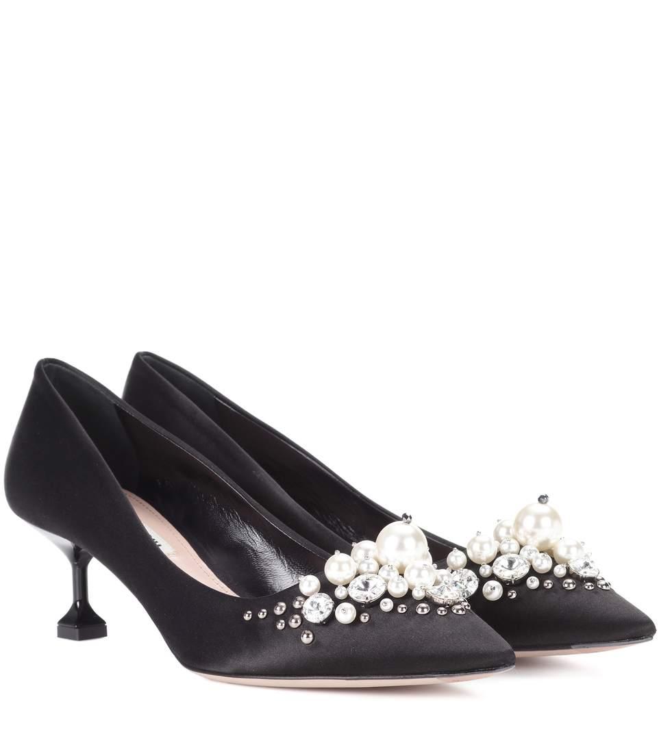 cbf8d1dd7e Miu Miu Pearly-Embellished Satin Low-Heel Pump, Black (Nero) | ModeSens