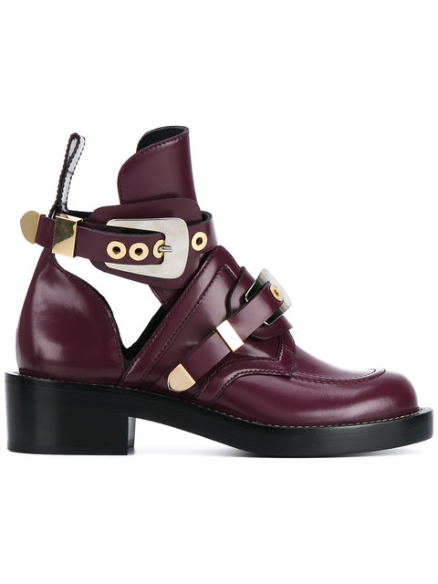 Balenciaga Apron Buckle Boots With Cut-out Detailing In Pruee