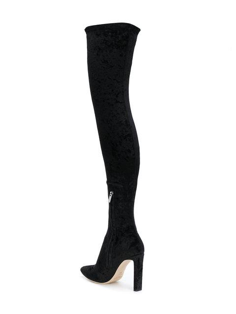 c840a966f4b1 Jimmy Choo Lorraine 100 Black Crushed Stretch Velvet Pointy Toe Over The  Knee Boots