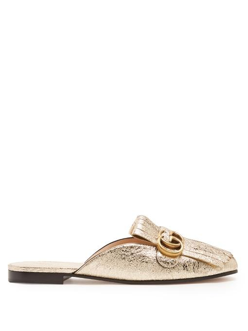 Gucci Marmont Fringed Logo-Embellished Metallic Cracked-Leather Slippers In Gold