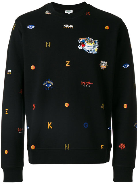 Kenzo Allover Tiger Logo Classic Sweatshirt In Black