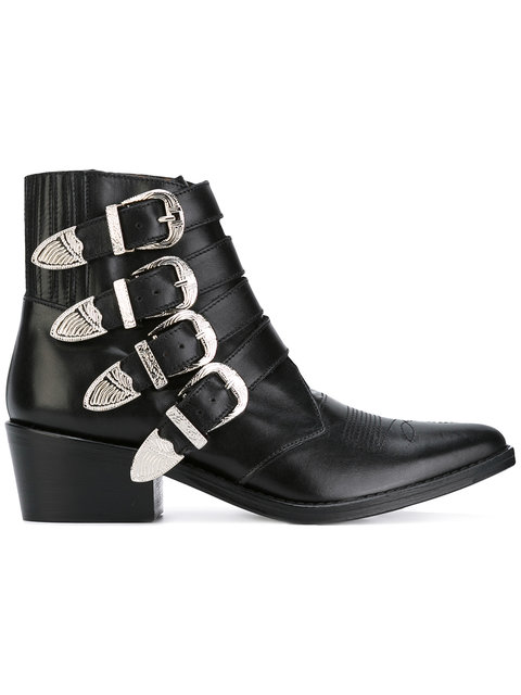 Toga Buckle Leather Ankle Boots In Black