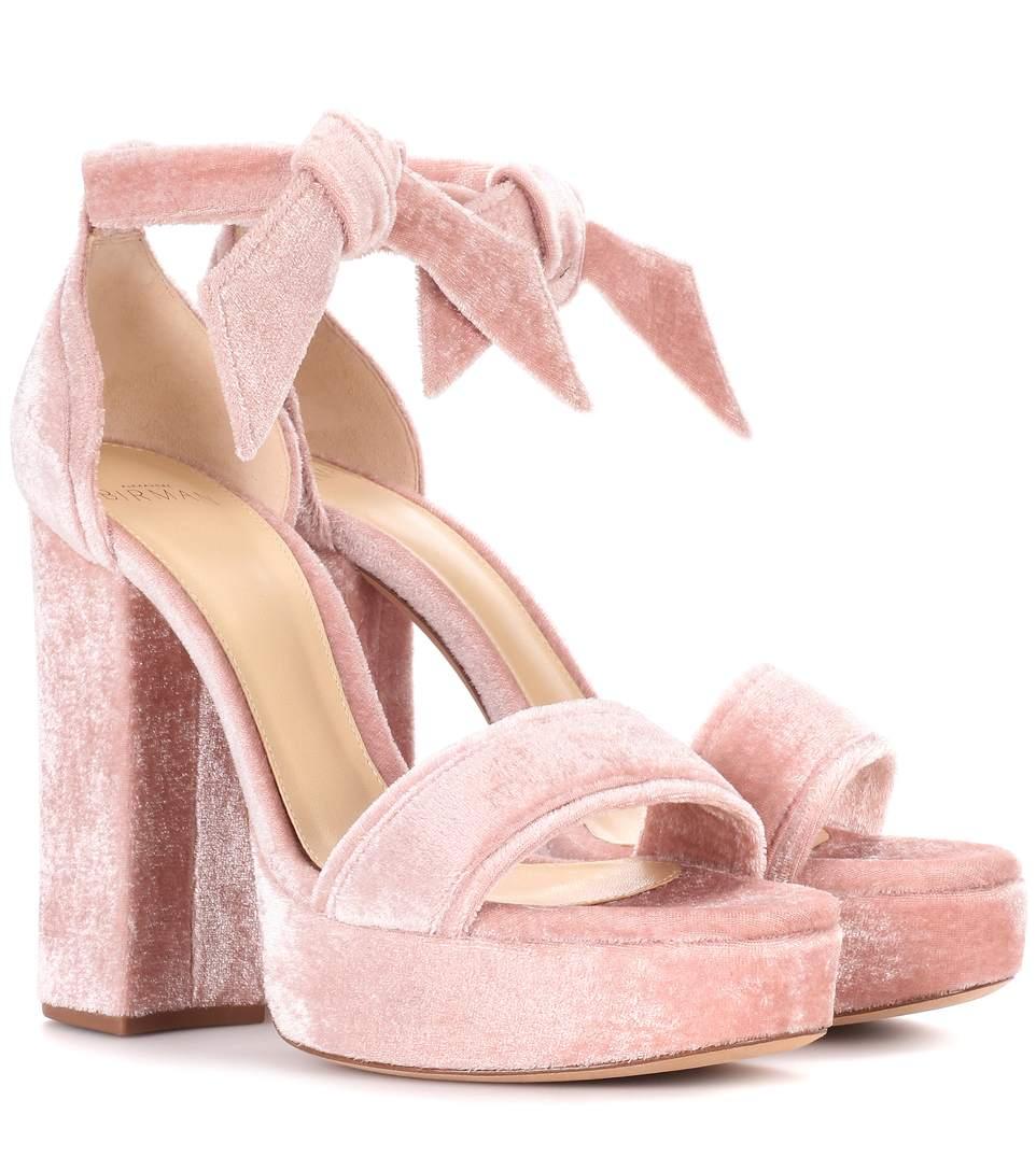 c0d711b8932 Celine Velvet Plateau Sandals in Pink