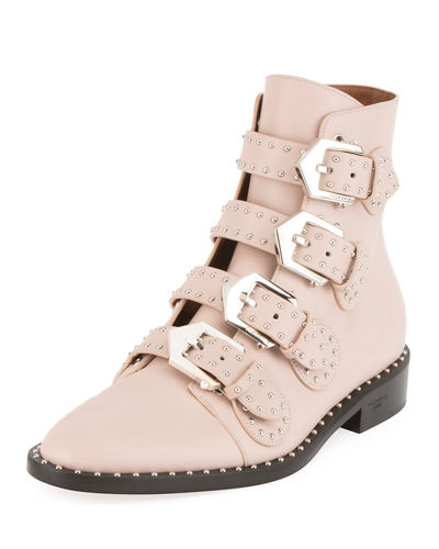 b1c43e7d5f6 STUDDED LEATHER ANKLE BOOTS