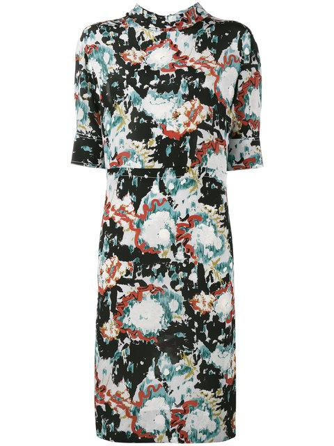 b224c95a45eff4 Marni Magma Print Silk Crepe Dress In Multicolour