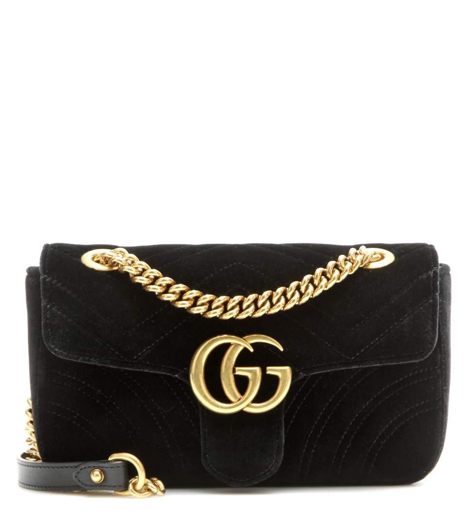 ccef530244c1bd Gucci Medium Gg Marmont 2.0 Matelasse Velvet Shoulder Bag - Black ...