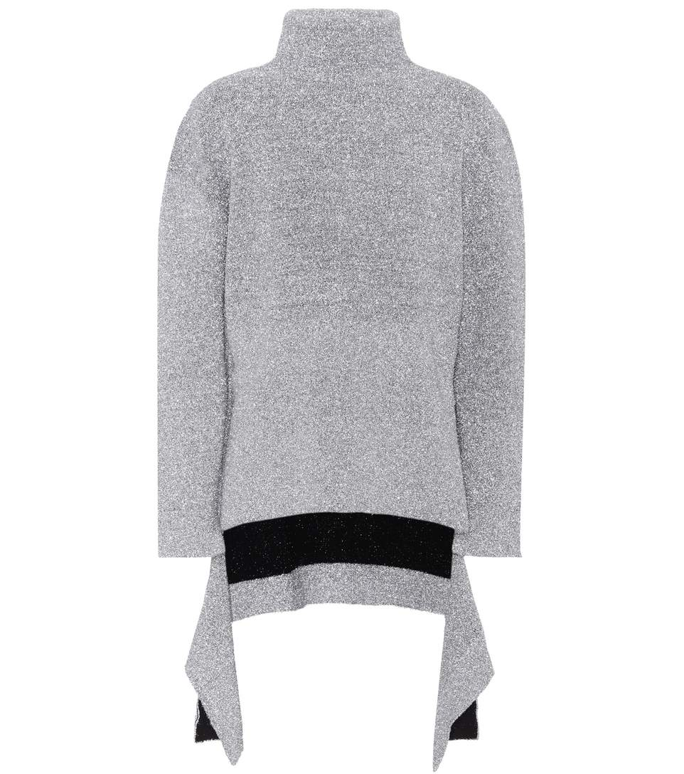 f1bce60f9c4edb Balenciaga Asymmetric Metallic Knitted Turtleneck Sweater | ModeSens