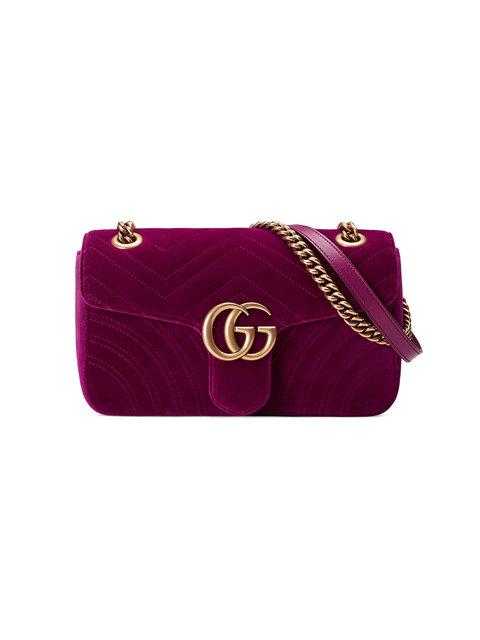Gucci Gg Marmont 2.0 Suede Shoulder Bag, <Font><Font>Fuchsia</Font></Font> In Magenta