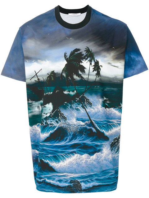 Givenchy Seascape-print Cotton-jersey T-shirt In Blue