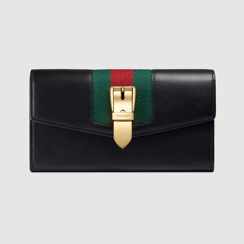 4dcf30ce3ca514 Gucci Sylvie Canvas-Trimmed Leather Continental Wallet In Black ...