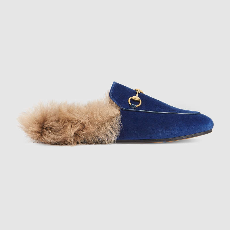 de14a64f7d6 Gucci Princetown Genuine Shearling Mule Loafer In 4572 Blue