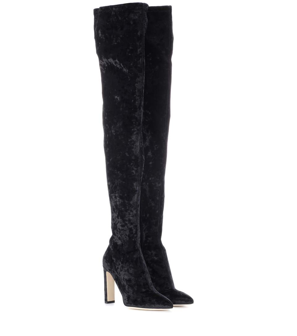 a8777a494711 Jimmy Choo Lorraine 100 Velvet Over-The-Knee Boots In Llack