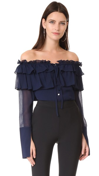 398d542c877480 Opening Ceremony Crinkle Chiffon Silk Off-The-Shoulder Blouse In Eclipse