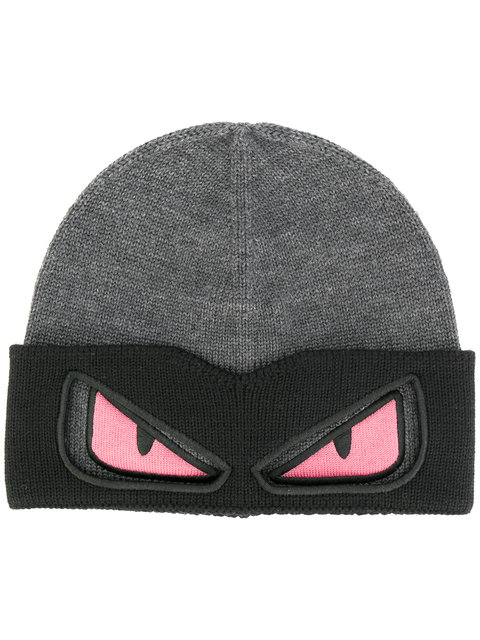FENDI EYES KNITTED BEANIE HAT  8d9f33c0fcc4
