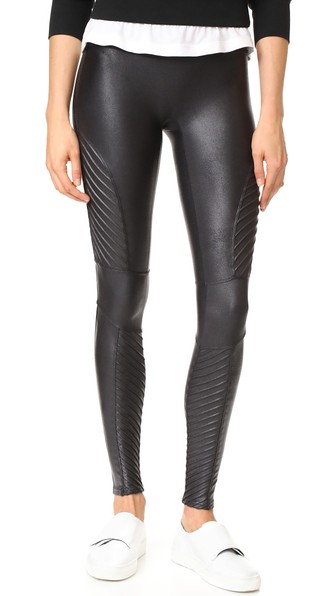 32eb31d0a334bf SPANX Women's Faux-Leather Moto Tummy Control Leggings in Very Black. Spanx  Women