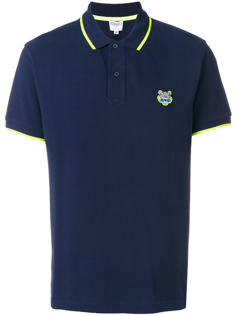 4179b1b6f Kenzo Short-Sleeved Polo With Tiger Crest In Blue | ModeSens