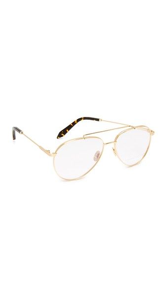 08d31f40050b Victoria Beckham Gold Grooved Aviator Glasses In Gold Clear