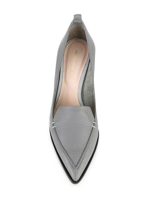 f45ded35158 Nicholas Kirkwood Beya Grained-Leather Block-Heel Pumps In Dark Gray ...
