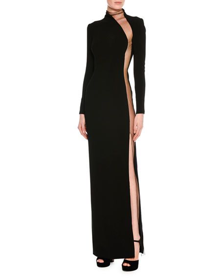 2d5b55060b0 Tom Ford Illusion-Panel Silk Long-Sleeve Gown In Black