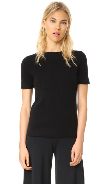 40210b4e6e6 Theory Tolleree Short-Sleeve Cashmere Sweater, Black | ModeSens