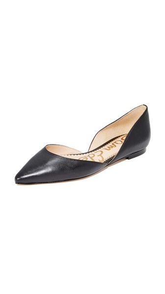 23bc33dc120 Sam Edelman Rodney Pointed-Toe Leather Flat In Black