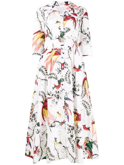 Erdem Kasia Bird-print Midi Shirtdress, White Pattern