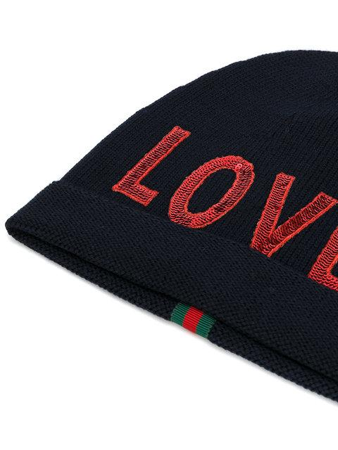 b008b025bb4d3 Gucci Sequin Embroidered Loved Knit Hat In Navy In Blue