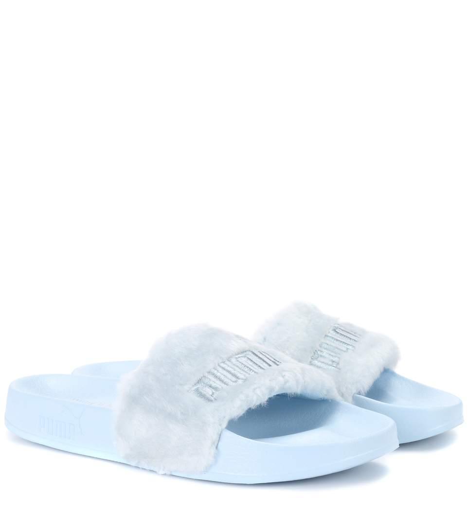 best website 51897 10fb8 Faux Fur Slides in Blue