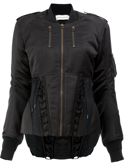 aac63e73f Corset Detailing Bomber Jacket in Black