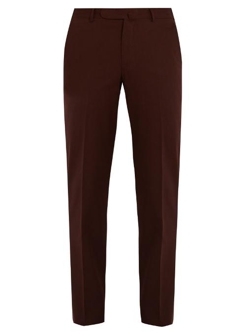 Ermenegildo Zegna Slim-leg Cotton-twill Chino Trousers In Burgundy