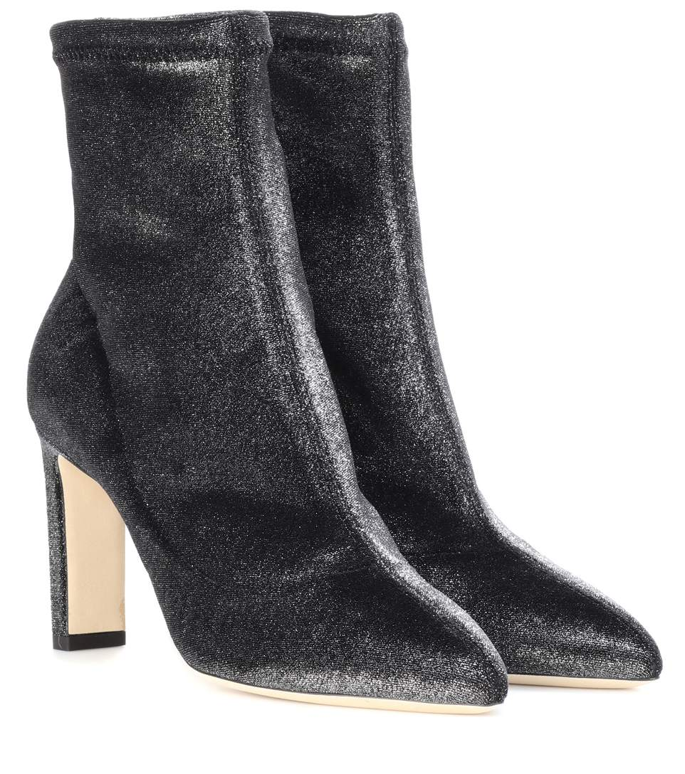 a18842f1d609 Jimmy Choo Louella 85 Anthracite Stretched Metallic Velvet Boots In Grey