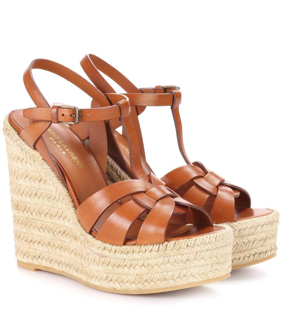 c64e33a125d9 Saint Laurent Tribute Leather Espadrille Wedge Sandals In Tan