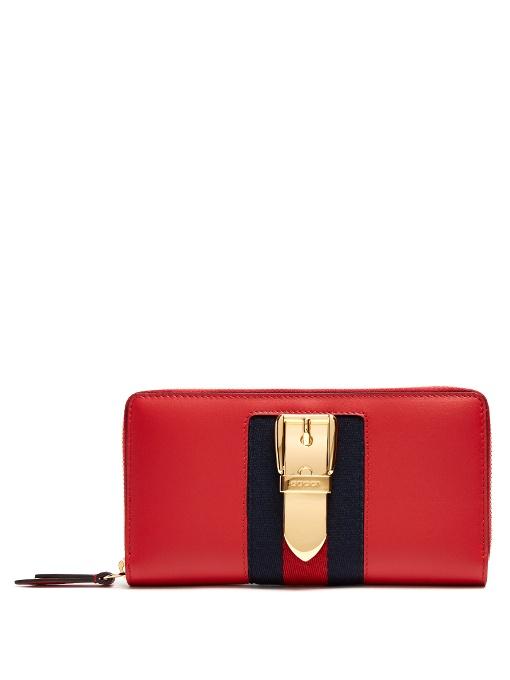 5d28f766350b4f Gucci Sylvie Leather Zip Around Wallet In Blue | ModeSens