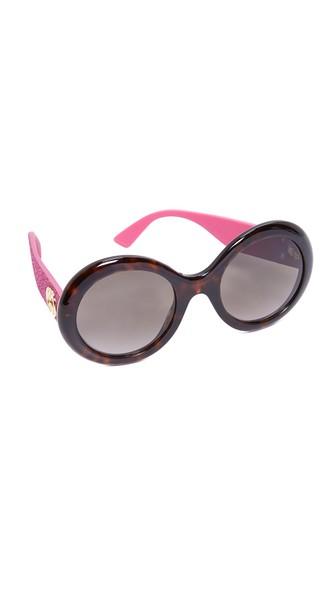 b7d5d89fe67 Gucci Urban Pop Glitter Round Sunglasses In Dark Havana Pink Brown ...