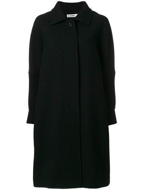 Jil Sander Black Wool Doha Coat In Navy