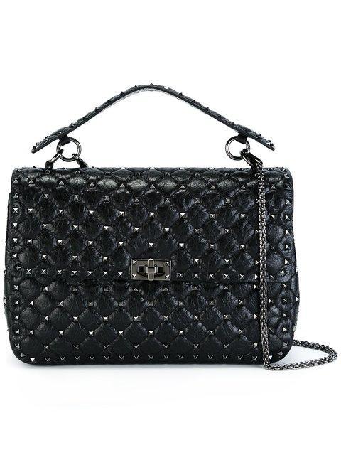 6c2d3530b2e9 Valentino Rockstud Spike Large Quilted Leather Shoulder Bag In Black ...