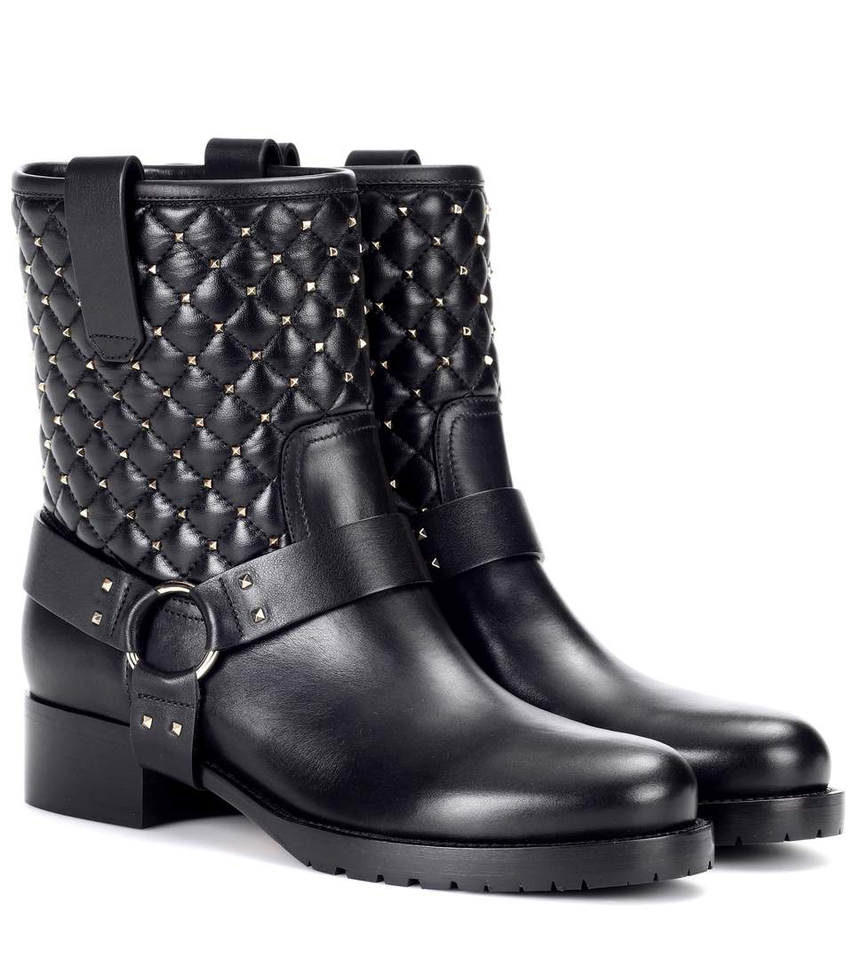 422bacdc641 Flat Booties Rockstud Spike Biker Ankle Boots In Leather With Studs in Black